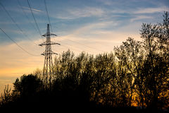 Powerline silhouette Royalty Free Stock Image
