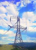 Powerline. Sky blue cloud mountain Royalty Free Stock Photos