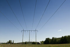 Powerline in Sweden Stock Photography