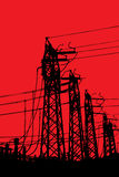 Powerline terminal towers royalty free stock image