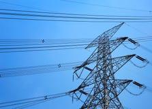 Powerline under blue sky Stock Photo