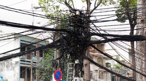 Powerline verwarring in Saigon Vietnam Stock Foto's