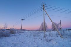Powerline w wsi Zdjęcia Stock