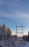 Powerline on a winter forest Royalty Free Stock Photos
