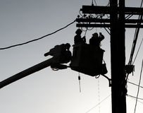 Powerline Workers Stock Image