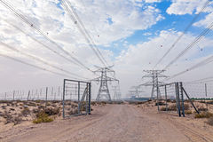 Powerlines. In the Dubai desert Stock Image