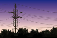 Powerlines. High voltage tower on a background of the sky Royalty Free Stock Image