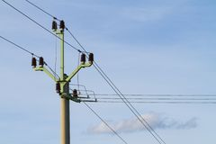 Powerlines against Royalty Free Stock Photography
