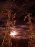 Powerlines and moonlight Royalty Free Stock Image