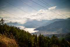 Powerlines in the Mountains. Powercables in the mountains blocking a great view of Lake Kawaguchi in Japan stock images