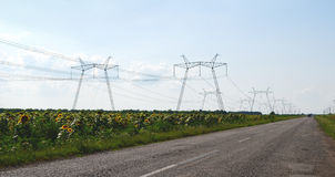 PowerLines3. An overhead power line through the sunflower's field Stock Images