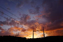 Powerlines in sunset Royalty Free Stock Photography