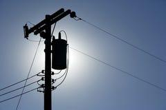powerlines sylwetka Zdjęcia Royalty Free