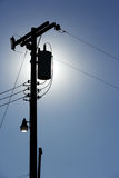 Powerlines van het silhouet Stock Fotografie