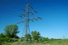 Powerlins pole. Power lines pole in nature scenery Royalty Free Stock Photography