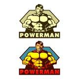 Powerman maskot Vektor Illustrationer