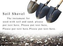 Powerpoint background soil shovel and soil Stock Photos