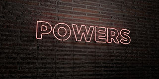 POWERS -Realistic Neon Sign on Brick Wall background - 3D rendered royalty free stock image. Can be used for online banner ads and direct mailers stock illustration
