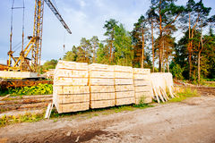 Powersaw bench - general view with many planks Stock Image