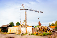Powersaw bench - general view with many planks in the foreground Royalty Free Stock Photography