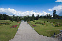 Powerscourt gardens , Wicklow Ireland. Powerscourt gardens showing beautiful Irish country estate with Wicklow mountains visible in the distance Stock Photo