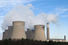 Powerstation cooling towers Royalty Free Stock Photo