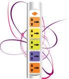 五颜六色的powerstrip 库存图片