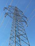 Powertower5. A tower for electricity cables in a classic angle from underneath Stock Image