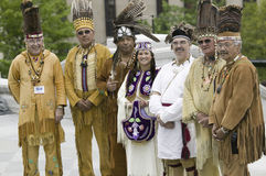 Powhatan tribal leaders. American Indians and Powhatan tribal leaders posing in front of Virginia State Capitol, Richmond Virginia, during ceremonies for the Royalty Free Stock Photography