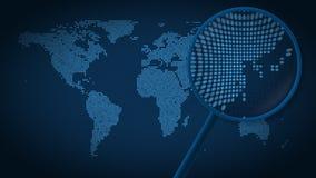 Powiększać - szkło szuka miasto Tokio na kropkowanej światowej mapie i znajduje Wstęp animacja ilustracja wektor