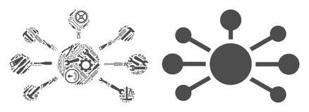 Powiązanie Łączy mozaikę Remontowi narzędzia ilustracja wektor