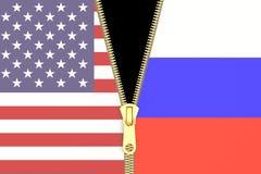 Powiązanie od Rosja i usa, polityczny pojęcie świadczenia 3 d ilustracja wektor