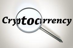 Powiększać - szkło Cryptocurrency i słowo Zdjęcia Royalty Free