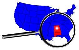 Powiększać - szkło Nad stanem Alabama royalty ilustracja
