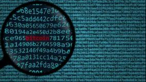 Powiększać - szkło odkrywa słowa bitcoin na ekranie komputerowym Cryptocurrency odnosić sie rewizja konceptualnego 3D rendering Obraz Royalty Free