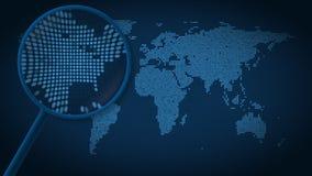 Powiększać - szkło szuka miasto Nowy Jork na kropkowanej światowej mapie i znajduje Wstęp animacja ilustracja wektor