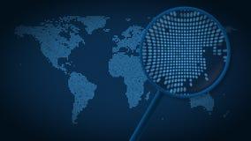 Powiększać - szkło szuka miasto Seul na kropkowanej światowej mapie i znajduje Wstęp animacja royalty ilustracja