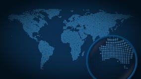 Powiększać - szkło szuka miasto Sydney na kropkowanej światowej mapie i znajduje Wstęp animacja ilustracja wektor