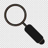 powiększać - szkło w płaskim projekta złota czerni ilustracja wektor