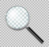 Powiększać - szkło z stalową ramą odizolowywającą Realistyczny Powiększać - szklany obiektyw dla zoomu na przejrzystym tle 3d royalty ilustracja