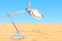 Powiększający biurko lampę na drewnianym stole, 3D rendering Obrazy Stock