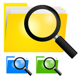 Powiększający - szkło, Szuka Skoroszytową ikonę na koloru żółtego, błękitnego i zielonego koloru falcówkach, Fotografia Stock