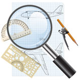 Powiększający - szklana ikona, rysunkowy samolot. ilustracji