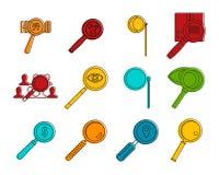 Powiększający szklany ikona set, koloru konturu styl royalty ilustracja