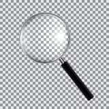 Powiększający - szklany realistyczny odosobniony na w kratkę tle, wektorowa ilustracja Fotografia Stock
