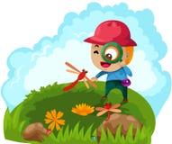 powiększający target1337_0_ chłopiec szkło ilustracji