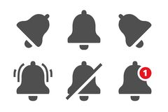 Powiadomienie ikony Wiadomość dzwony, przypomnienia zastosowanie i smartphone powiadomień dzwonkowa ikona, odizolowywali wektoru  royalty ilustracja