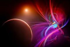 Powieściowa przestrzeń z planetami ilustracja wektor