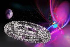 Powieściowy wszechświat z astronautycznym statkiem ilustracji