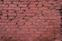 Powierzchnia ściana z cegieł farbująca czerwona farba Zdjęcie Stock